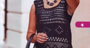 Ажурная туника и сумочка черного цвета с филейкой