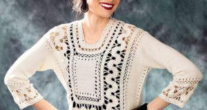 Белый пуловер с брюггским кружевом крючком и спицами