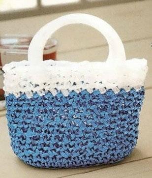 Пляжная сумка в сине-белой гамме «Морская волна»