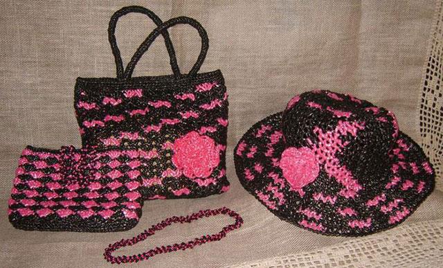 Комлект сумки, шляпки и косметички
