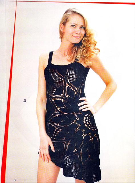 Черное ажурное платье