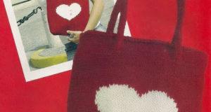 Красная сумка с белым сердцем
