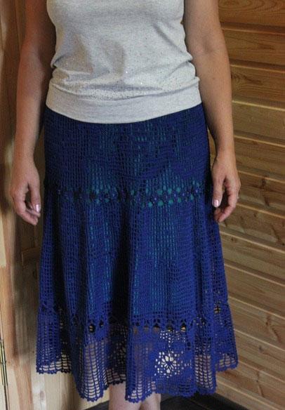 Филейный узор комбинированный кружевом на синей юбке