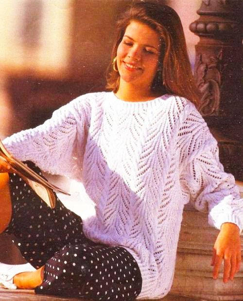 Женский пуловер с ажурным узором и косами Восторг ангела