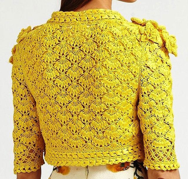 Желтый жакет от Oscar de la Renta сзади