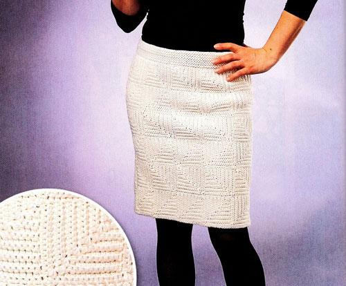Прямая теплая юбка в стиле пэчворк крючком