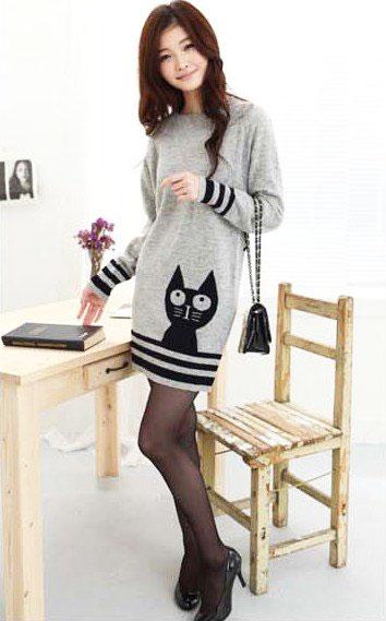 Серое платье-туника с котом