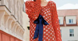 Ажурное мини-платье с бантом