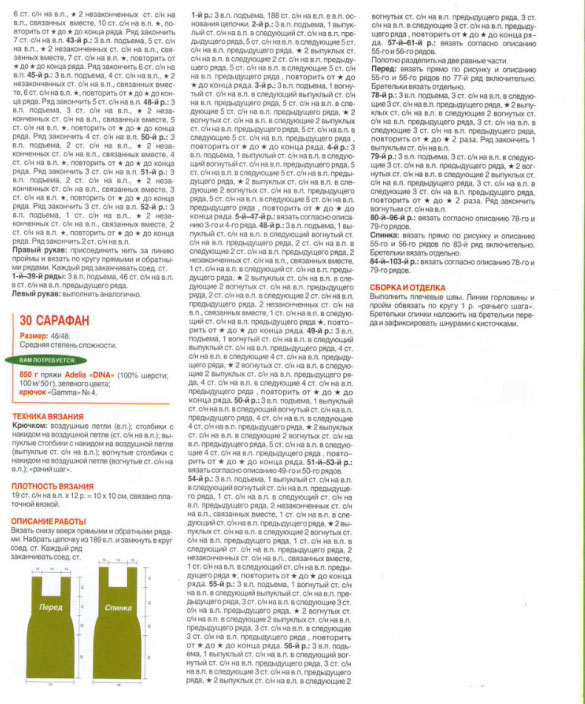 Описание вязания сарафана и выкройка