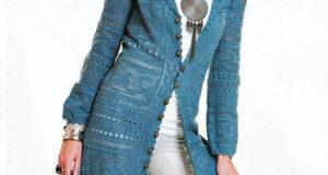Женское пальто крючком филейной вязкой