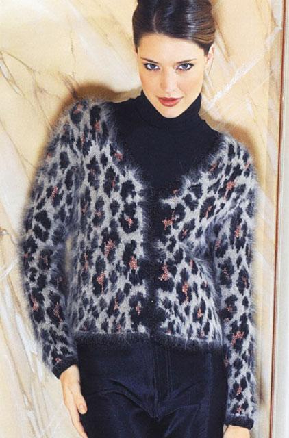 Пушистый леопардовый жакет для полных и стройных дам