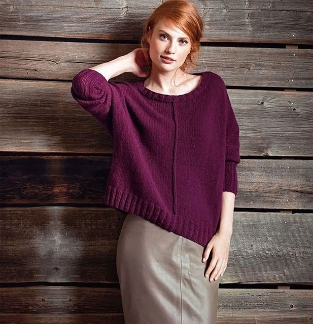 женские пуловеры оверсайз лицевой гладью спицами 3 схемы вязания с