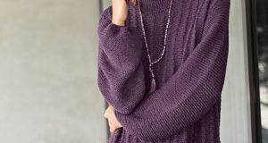 Пуловер оверсайз с «косами» и рукавами буф