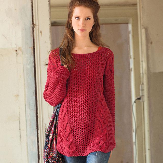 Красный пуловер в стиле оверсайз со вставками из кос