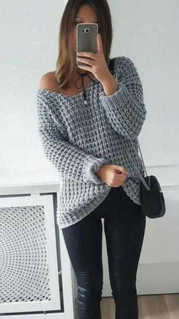 Базовый пуловер серого цвета