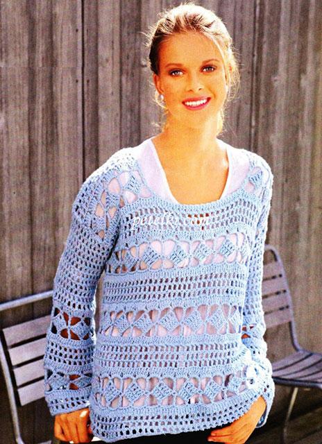 Пуловер в ажурную полоску бирюзового цвета
