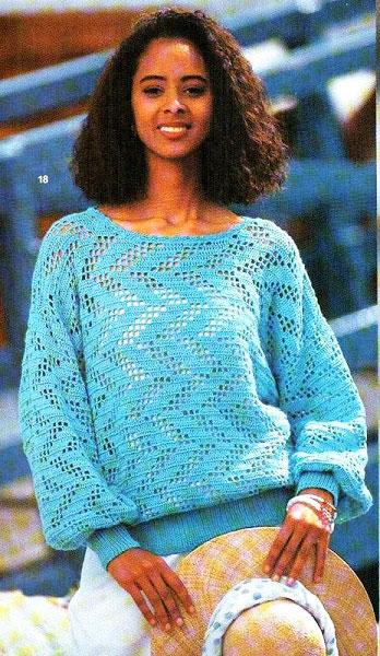 Бирюзовый пуловер с зигзагообразным вертикальным филейным узором