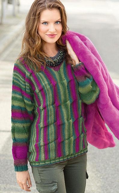 Пуловер с цельновязаными рукавами