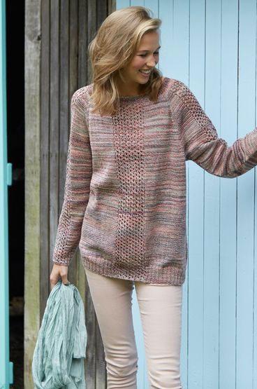 Меланжевый пуловер-реглан с ажурными вставками