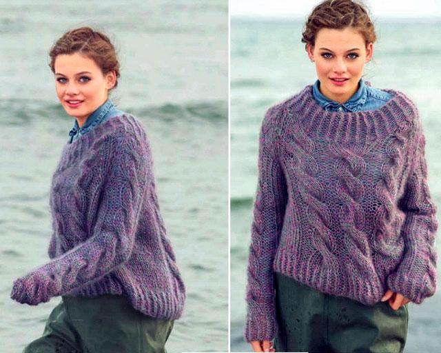 Меланжевый пуловер-реглан с косами