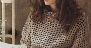 Коричневый теплый пуловер