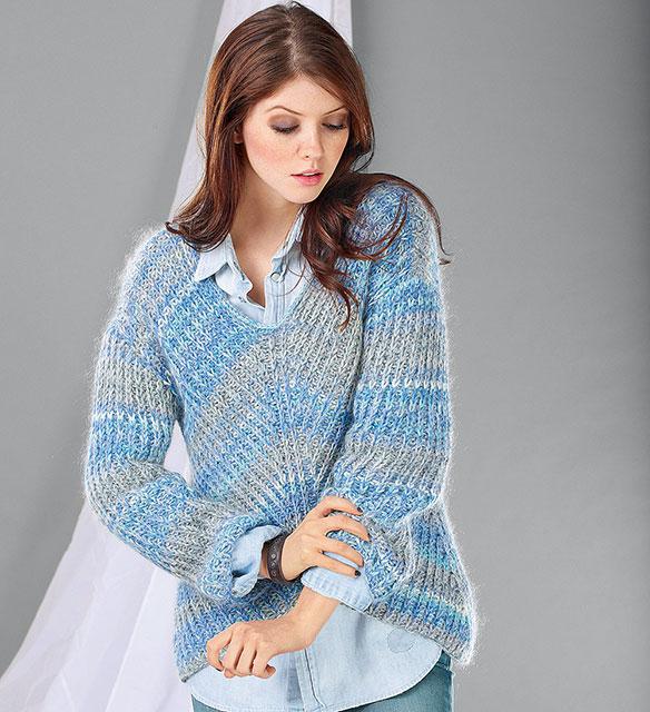 Пуловер со скошенной линией переда