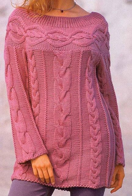 Розовый свитер из мериносовой шерсти в стиле шамони