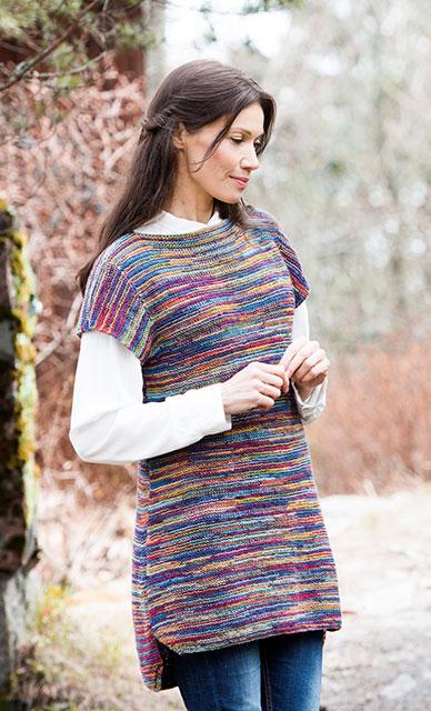 Шерстяная туника из разноцветной меланжевой пряжи