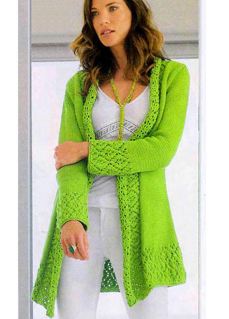 Кардиган с ажурными планками зеленого цвета