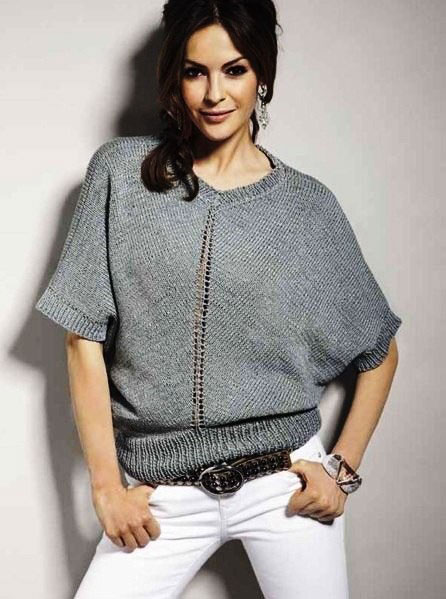 Пуловер О-образного силуэта с коротким рукавом