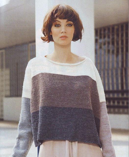 Широкий пуловер оверсайз в полоску