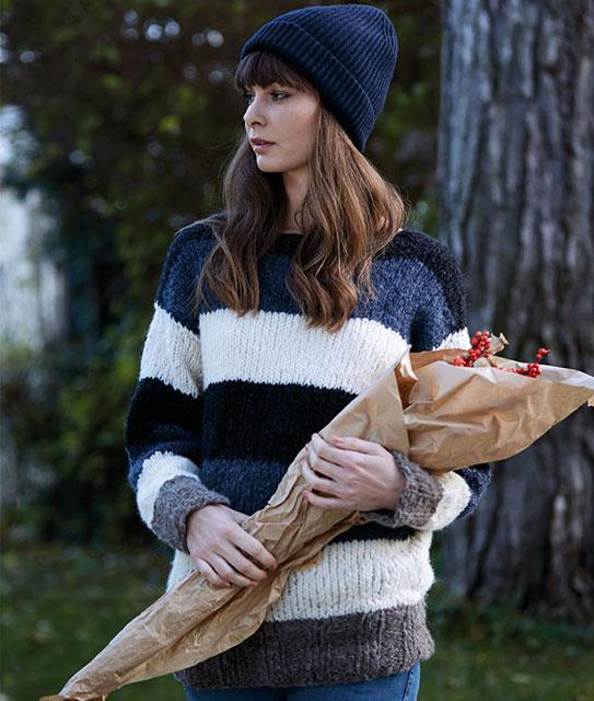 Пуловер в широкую полоску в спортивном стиле