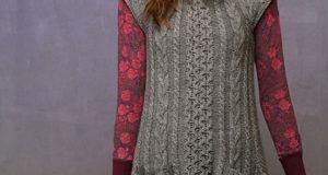 Серое платье-туника жемчужным узором с карманами