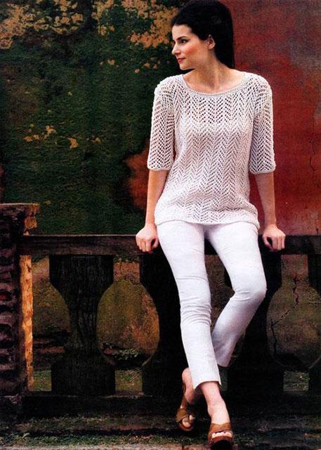 Пуловер «Природная гармония» ажурным узором Елочка