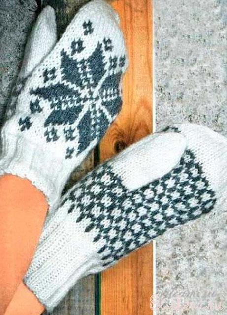 Зимние варежки с жаккардовой снежинкой