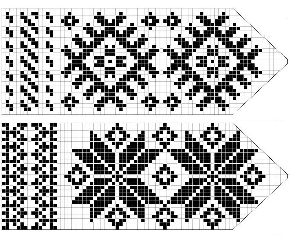 Схема двух узоров снежинок