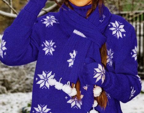 Новогодние варежки со снежинками