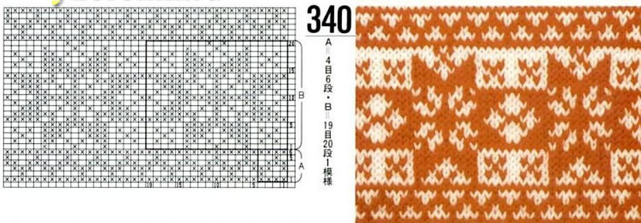 Схема узора с образцом