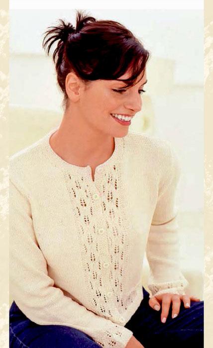 Жакет белого цвета с ажурными планками
