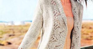 Бежевый жакет обрамленный широкой ажурной планкой-воротником
