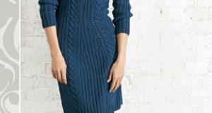 Синее платье с рукавом реглан