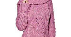Розовая туника-свитер с воротником-хомут