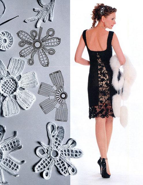 Вечернее платье черного цвета с открытой спиной и элементами ирландского кружева