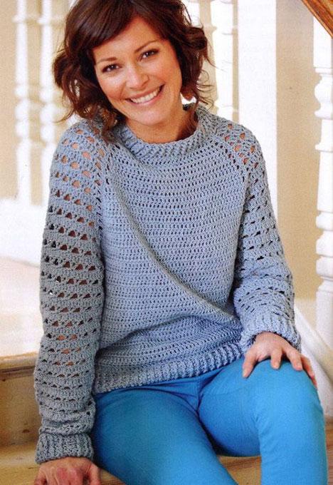 Пуловер-реглан бирюзового цвета