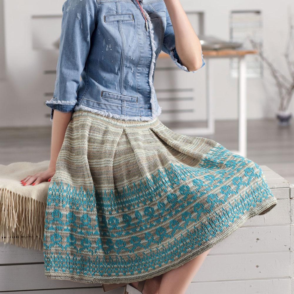 Жаккардовая юбка со складками и широким бордюром