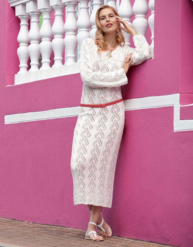 Длинное ажурное платье богемного белого цвета