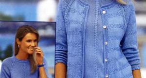 Пуловер и жакет голубой блик