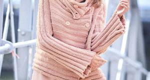 Нежно-розового цвета жакет с поперечной резинкой