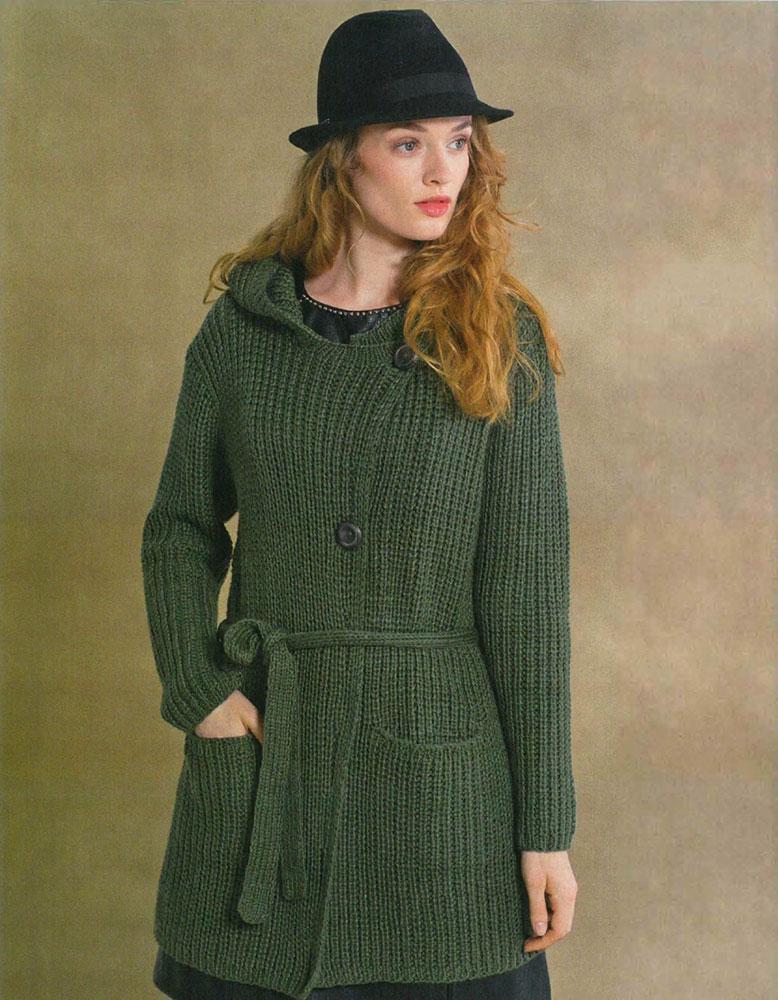 Зеленый кардиган из хлопка с капюшоном и поясом