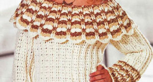 Пуловер цвета экрю с широким воротником